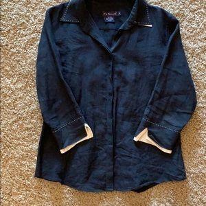 Faconnable black linen button down shirt
